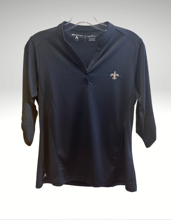 A casual and comfortable shirt that proudly represents your loyalty to the New Orleans Saints. Price: $48. Brand: Antigua. 100% Polyester