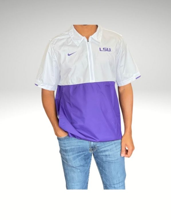Avid LSU Tigers fan sporting the coaches jacket proudly representing your loyalty. Price: $70. Brand: Nike