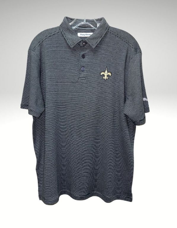 A sophisticated yet sporty polo that proudly represents your loyalty to the New Orleans Saints. Price: $110. Brand: Tommy Bahama