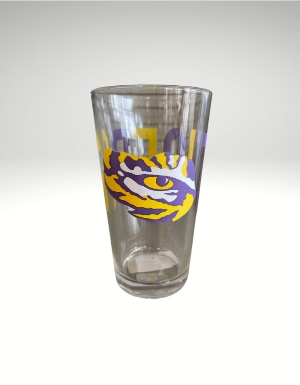 Enjoy your favorite beverage with LSU's eye of the tiger 16oz Pint Glass.