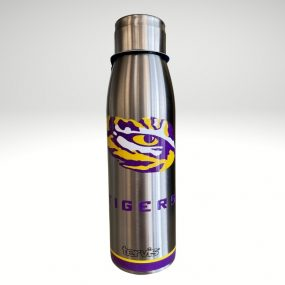 LSU 17oz slim bottle tervis, designed to keep your drinks cold for 48 hours or hot for 6 hours.