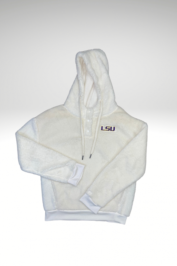 White Fleece with hoodie and three buttons with LSU logo on the left chest.