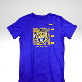 Nike purple tee with the tiger placed in the middle, LSU on the side in bold, and tiger football placed underneath the box.