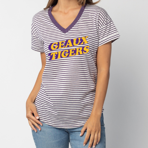 Striped white and purple v-neck tee, with Geaux Tigers printed in yellow with a back shadow in purple.