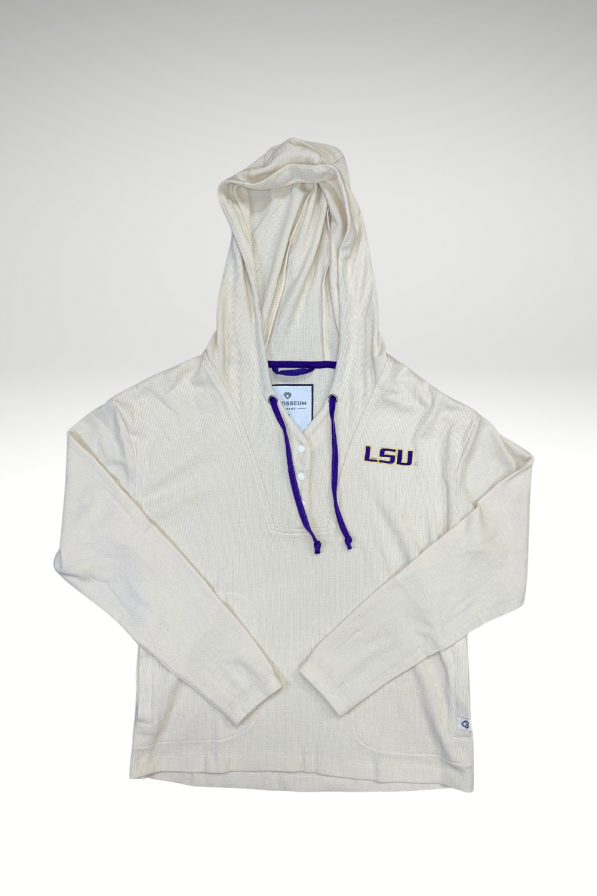 Henley and Hoodie combined along with the LSU logo on the left chest