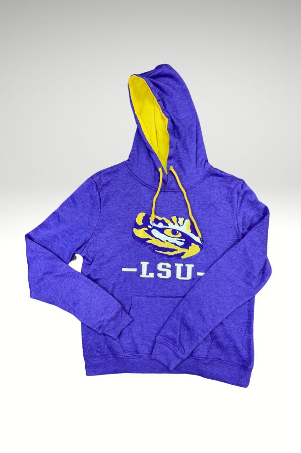 A purple sweatshirt with a tiger eye and LSU underneath it in white