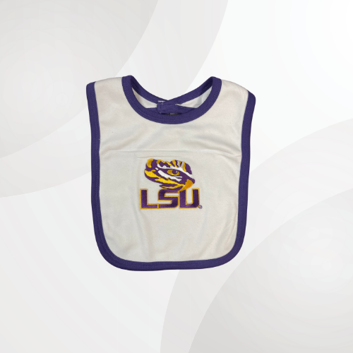 White bib outlined in university purple with the eye of the tiger placed in the middle with LSU underneath it.