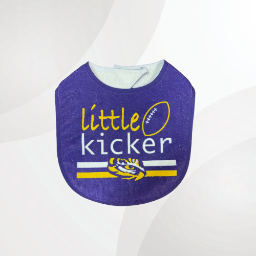 Purple bib with little kicker printed in the middle and the lsu tiger eye placed underneath it.
