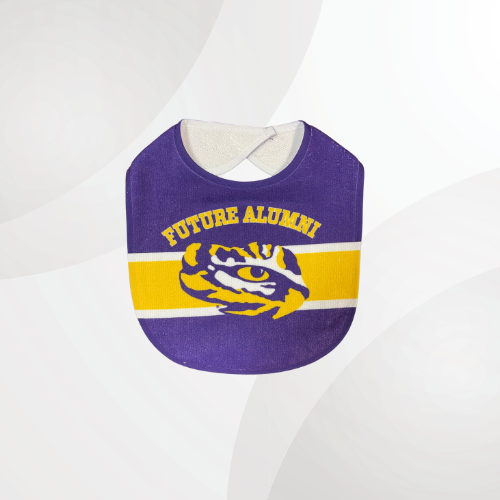Purple bib with the eye of the tiger placed on a yellow strip in the middle of the bib and future alumni placed above it.